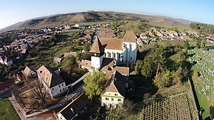 Bazna - View of Bazna village and its central fortified church