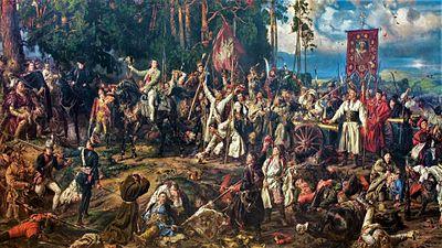 The Battle of Racławice, a major battle of the Kościuszko Uprising, 1794. Oil on canvas, 1888, National Museum in Kraków. 4th April 1794, Kościuszko Uprising.