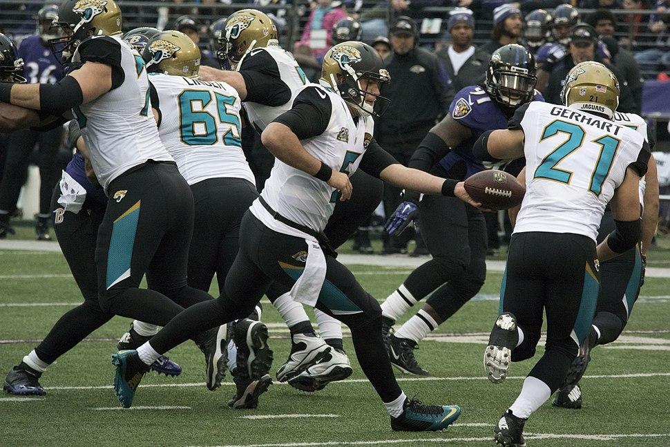 Blake Bortles hands off to Toby Gerhart vs. Ravens 2014