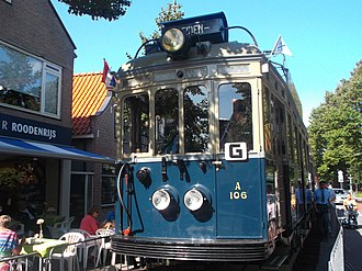 Katwijk - NZH Blue tram at the Rijnstraat on a celebrational heritage service, over 60 years after the abolishment of the interlocal tramway in and around Katwijk.