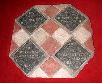 Francis Blomefield - Memorial tablets to Henry and Alice Blomefield, parents of Rev. Francis Blomefield, St Andrew's Church, Fersfield, Norfolk.