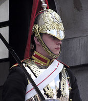 A Trooper of the Blues and Royals on mounted duty in Whitehall, London