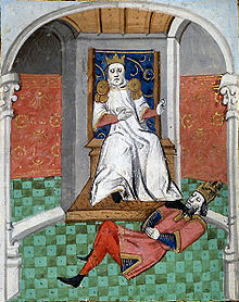 Painting of a ruler on a throne placing his foot on a man lying on the floor