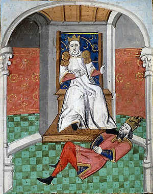 Byzantine Empire under the Doukas dynasty - Alp Arslan humiliating Emperor Romanos IV. From a 15th-century illustrated French translation of Boccaccio's De Casibus Virorum Illustrium.