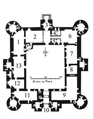 Bodiam Castle ground plan, Archaeological Journal (1905) v62 page 179.jpg