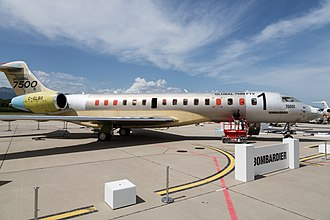 Bombardier Global 7500 - The Global 7500 flight test vehicle at EBACE in 2018