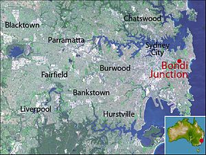 Bondi Junction, New South Wales - Location map of Bondi Junction based on NASA satellite images