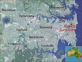 Bondi Junction, New South Wales - Location map of Bondi Junction based on NASA satellite images