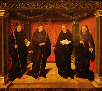 Benedictines - Saint Boniface (c. 680–750), Pope Gregory I (c. 540–604, pope 590–604), Adalbert of Egmond (8th century) and priest Jeroen van Noordwijk, depicted in a 1529 painting by Jan Joostsz van Hillegom currently on display at the Frans Hals Museum