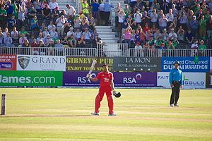 Ravi Bopara - Ravi Bopara celebrates reaching 50 against Ireland, en route to his first One Day International century.