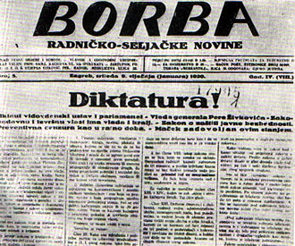 Borba (newspaper) - Front page of the 9 January 1929 issue