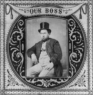Political boss - 1869 tobacco label featuring Boss Tweed