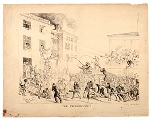 """Broad Street Riot - """"The Experiment"""", a cartoon by David Claypoole Johnston depicting Boston's firefighters, 1837."""