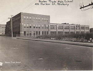 Boston Trade High School for Boys - External view of the high school in the 1930s