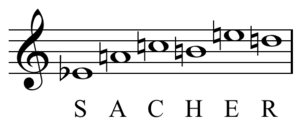 Musical cryptogram - Image: Boulez Messagesquisse, Sacher hexachord