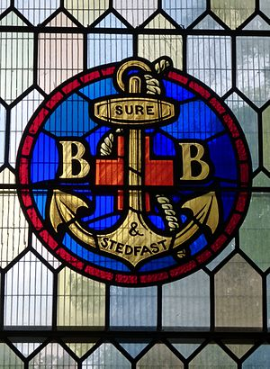 Boys' Brigade - The Boys' Brigade emblem on a stained glass window in a parish church