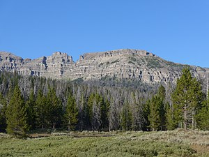 Breccia Peak (Wyoming) - Breccia Peak (middle) from southwest, from US 26/US 287