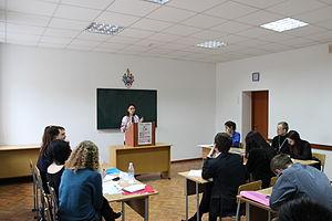 Parliamentary debate - Debating in Khmelnytskyi, Ukraine. The Deputy Leader of the Opposition is speaking.