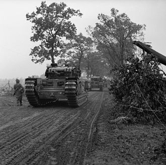 Gordon Highlanders - British tanks supported by men of the 2nd Battalion, Gordon Highlanders in the Netherlands in November 1944.