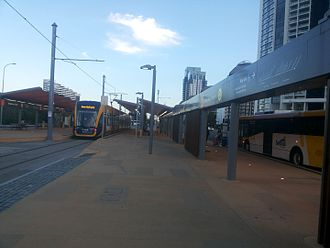 Pacific Fair Shopping Centre - Broadbeach South bus station is located next to Pacific Fair and provides bus and tram connections.