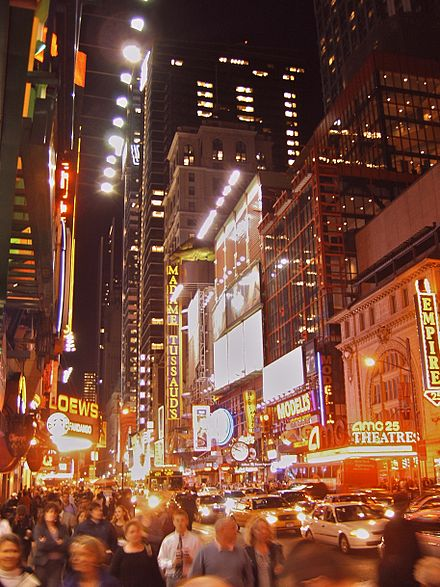 The vicinity of Times Square, New York City, has been famous for elaborate lighting displays incorporating neon signs since the 1920s. Broadway and Times Square by night.jpg
