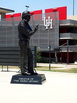 TDECU Stadium - Statue of Hall of Fame Coach Bill Yeoman in Legends Plaza outside Gate 1 of TDECU Stadium at the University of Houston