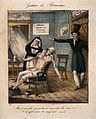 Broussais instructs a nurse to carry on bleeding a pallid, blood-besmeared patient Wellcome V0011724.jpg
