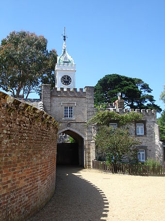 The mock Tudor entrance added in the mid-1850s by William Waugh Brownsea Island 4.JPG