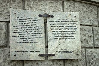 Imre Nagy - Memorial plaque at the Embassy of Serbia, Budapest in memory of Imre Nagy who found sanctuary there during the Hungarian Revolution of 1956
