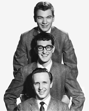 Buddy Holly and his band, the Crickets. Buddy Holly & The Crickets publicity portrait - cropped.jpg