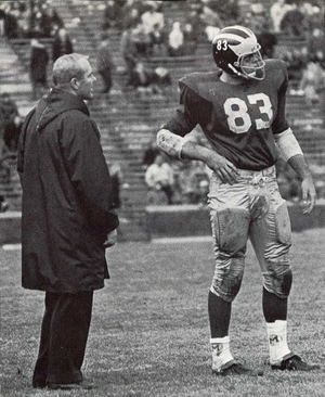 Rocky Rosema - Coach Bump Elliott and Rosema (No. 83) from 1968 Michiganensian