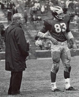 Rocky Rosema - Coach Bump Elliott and Rosema (No. 83) from 1968 Michiganensian