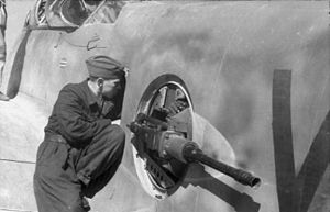 Messerschmitt Me 210 - The FDSL 131 remote gun turret of an Me 210 being maintained