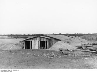 Stalag II-B - Barrack hut of Stalag II B under construction, 1941