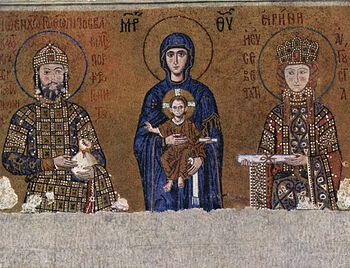 Mosaic in Hagia Sophia: Enthroned Mary with the Christ child blessing between Emperor John II and Empress Irene