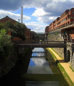 The Chesapeake and Ohio Canal passes through Georgetown. C&O Canal - Georgetown.jpg