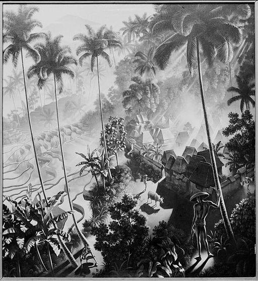 COLLECTIE TROPENMUSEUM 'Het schilderij 'Iseh im Morgenlicht' door Walter Spies' TMnr 60030143