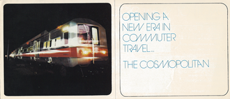"""M2 (railcar) - Cover of publicity booklet provided to commuters when the M2 Cosmopolitan railcars were launched, heralding a """"new era in commuter travel"""""""