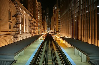Passenger rail terminology - Chicago Transit Authority Chicago 'L' tracks in the Chicago Loop at the Adams/Wabash station at night.