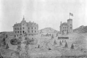 Colorado University Schools - Jarvis Hall, original School of Mines building, and the Colorado University Schools campus in 1871.