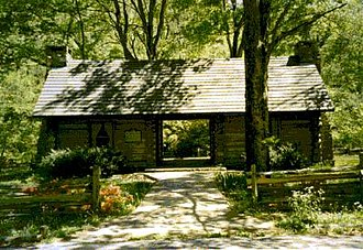 Cumberland Presbyterian Church - Replica of the log house in Dickson County, Tenn. where the Cumberland Presbyterian Church was founded in 1810. The structure sits in the midst of the Montgomery Bell State Park.
