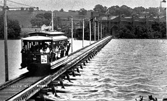 Campbell's Island, Illinois - Cable car connecting Campbell's Island to Watertown (now East Moline)
