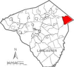 Map of Lancaster County highlighting Caernarvon Township