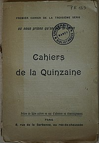 Image illustrative de l'article Cahiers de la Quinzaine