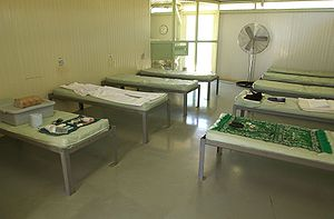 Camp Delta (Guantanamo Bay) - Photo taken by the US military shows one of the Camp Four barracks, May 2006 according to the US military