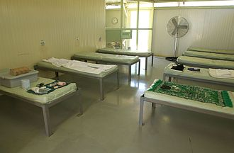 Camp four (Guantanamo) - Camp four barracks, May 2006.  Captives in Camp four live in communal barracks, similar to those in POW camps.