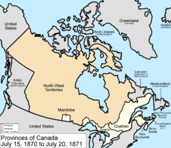 Map of the country of Canada on July 15, 1870, depicting the postage stamp sized province of Manitoba along with the provinces of Ontario (southern portion only), Quebec (southern portion only), New Brunswick and Nova Scotia in the colour white, Rupert's Land which comprises the lands draining into Hudson Bay and are depicted in the colour pink. The area called British Columbia, Newfoundland, Labrador, Alaska, and the northerly Islands are depicted in bluish grey colour, and are not a part of Canada.
