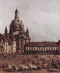 Pasar Dresden dengan Frauenkirche (lukisan oleh Canaletto)