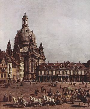 Dresden Frauenkirche - Dresden Market with the Frauenkirche (1749–1751 painting by Bernardo Bellotto)