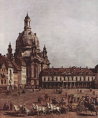 Clavier-Übung III - Canaletto: the market place and Frauenkirche in Dresden, c 1750